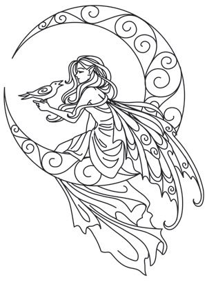 Lunar Fae Urban Threads Unique And Awesome Embroidery Designs Fairy Coloring Pages Fairy Coloring Coloring Pages
