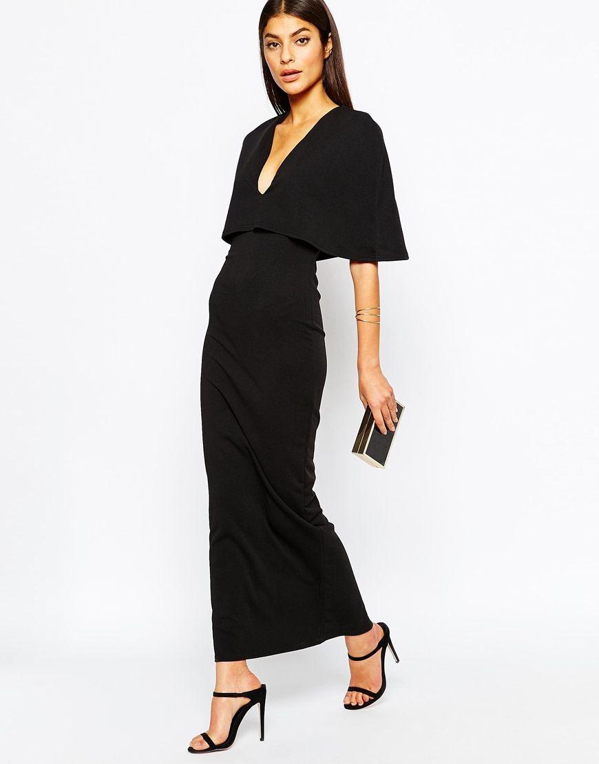 Maxi black cape crepe dress long u short bridesmaid dresses and