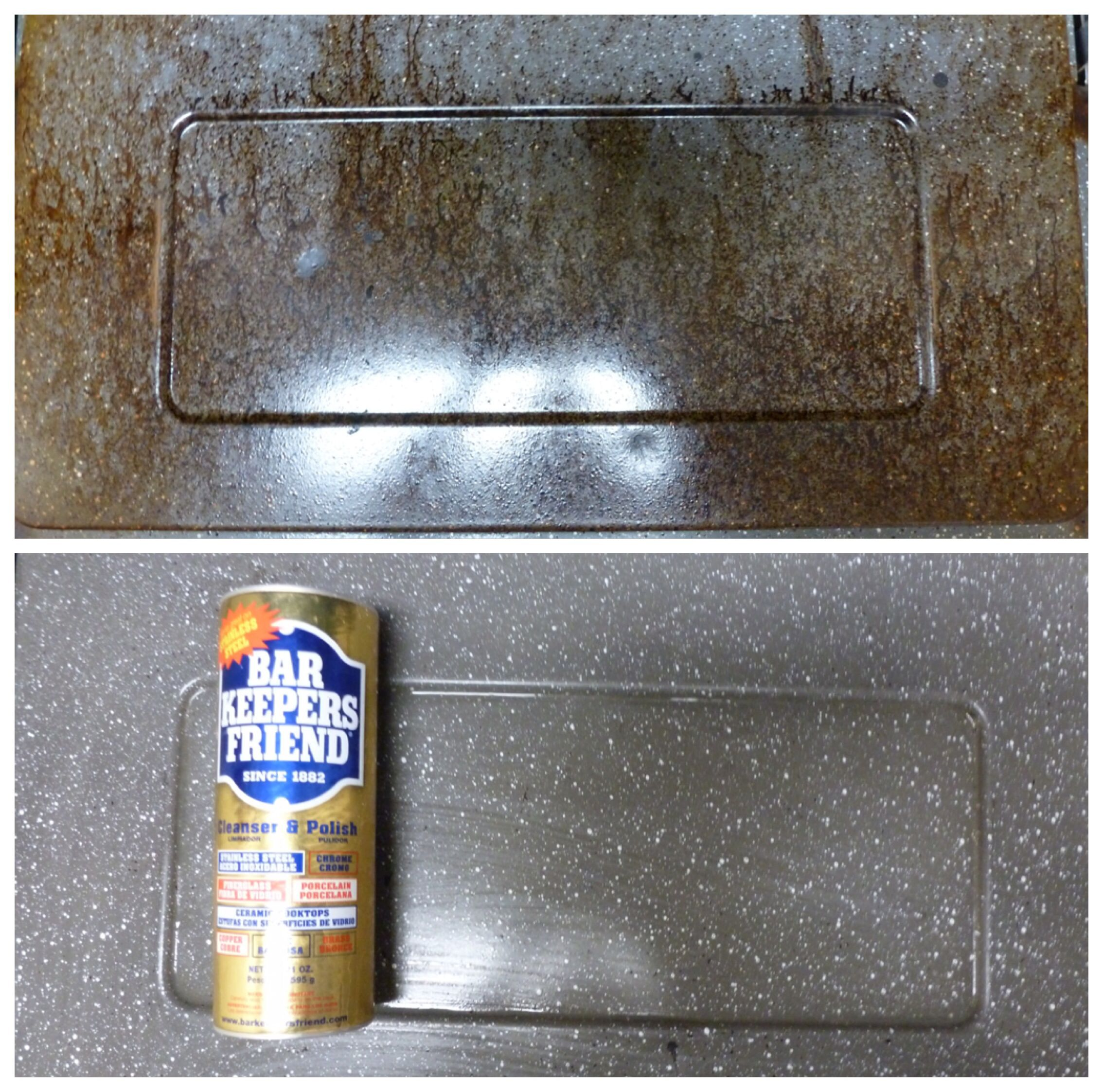 Bar Keepers Friend on the inside of an oven door!! Works ...