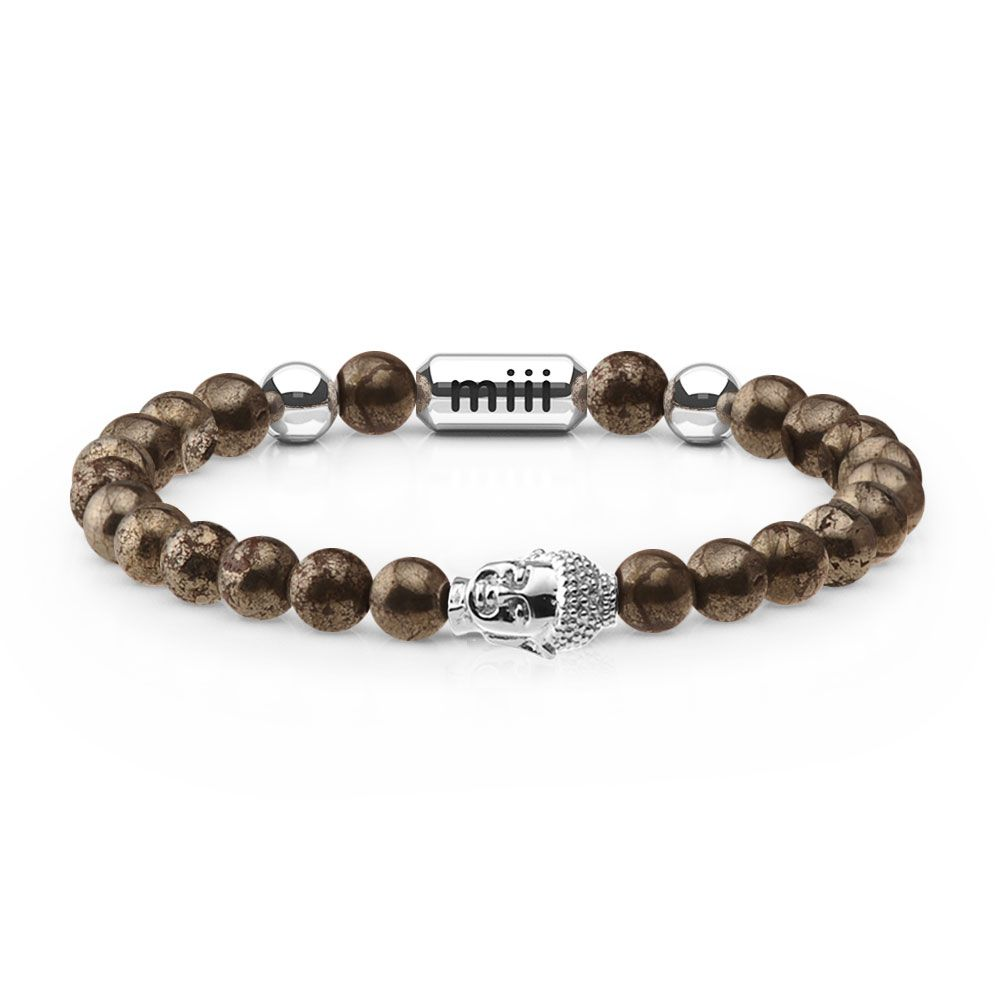 Relax Miii Bracelet - For when you deserve a break | The Relax Miii bracelet is crafted from 6mm Pyrite stone beads and is accented with a 18K White Gold Finished Tibetan Buddha charm.