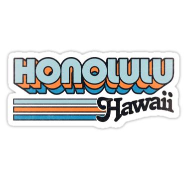 Honolulu Hi City Stripes Sticker Preppy Stickers