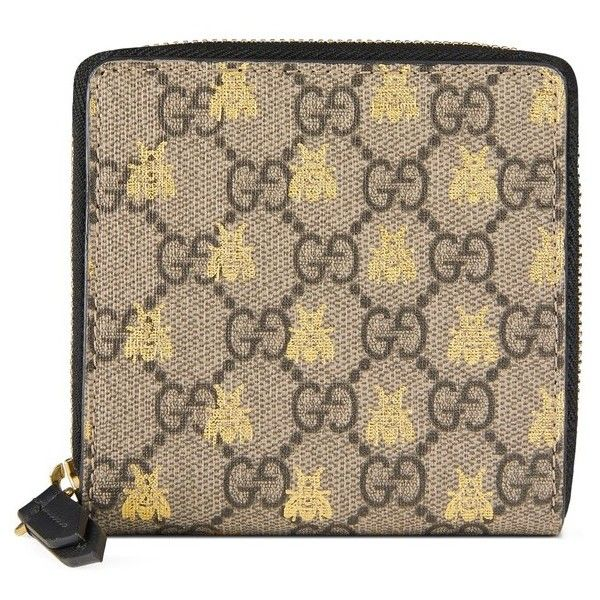 Women's Gucci Bee Gg Supreme French Wallet ($610) Liked On