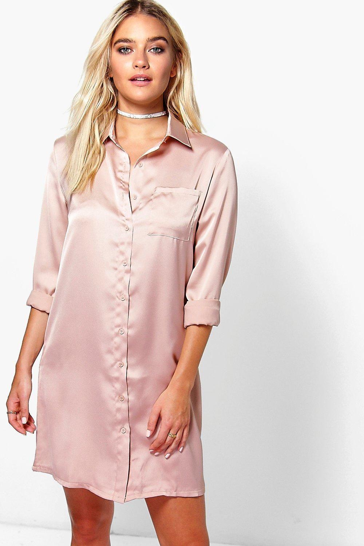 bb5bf956ed8682 Harriet Satin Shirt Dressalternative image | fashion | Satin shirt ...