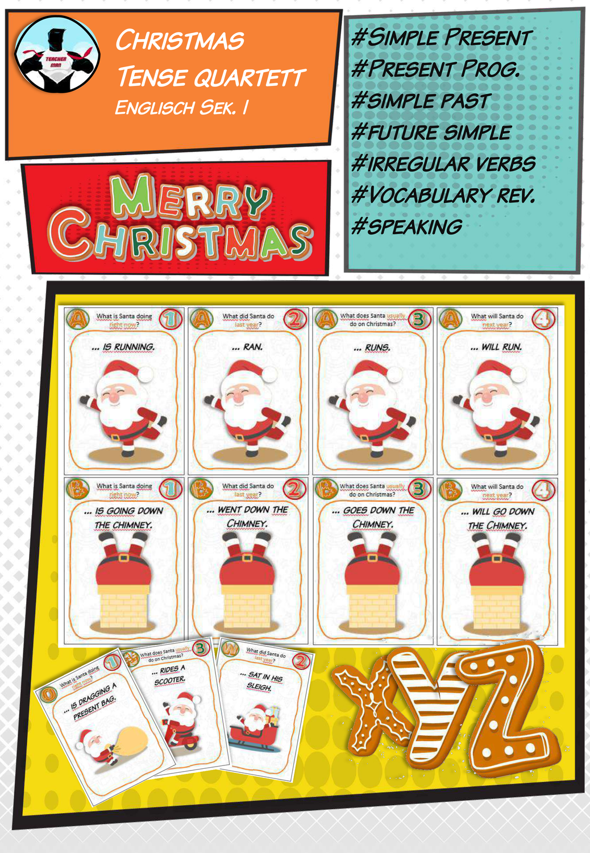Christmas Quartett Tenses Simple Present Past Present Progressive Will Future Unterrichtsmaterial Im Fach Englisch In 2020 Simple Present Quartett Unterrichtsmaterial