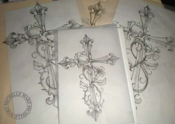 Cross tattoo without the flowers tattoo ideas for Flower cross tattoo