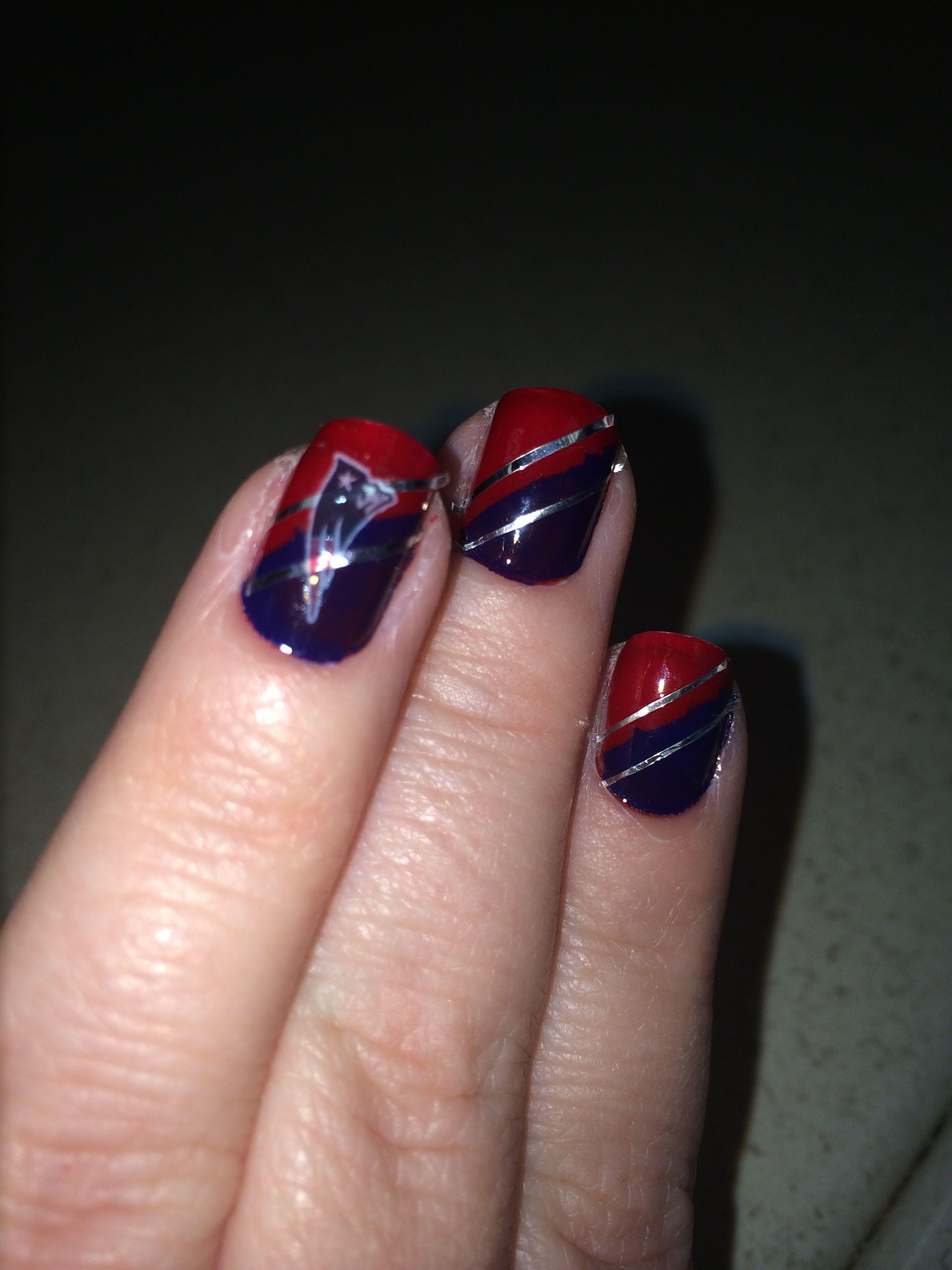 Ready For The First Pre Season Game Patriots Nail Art Patriotic Nails Cheap Nail