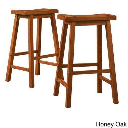 Counter Height Stools Bar Wood Pub Wooden 29 Inch Stool Set 2