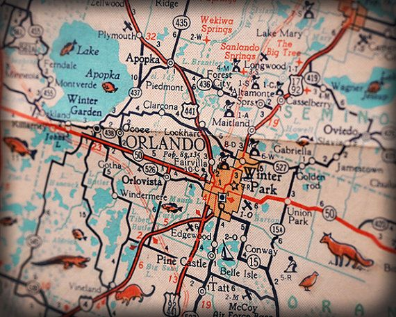 Lake Park Florida Map.Orlando Winter Park Retro House Florida Map By Retroseashoredecor