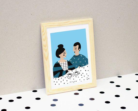 Morning coffee / Print / Illustration / carte par HirundoShop