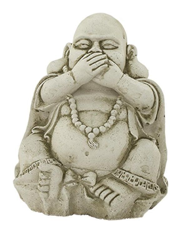 Bouddha assis mains sur la bouche en pierre reconsitutée Mains sur la bouche – NO NAME