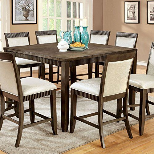 Forbes Transitional Style Brown Finish 9 Piece Counter Height Table Set