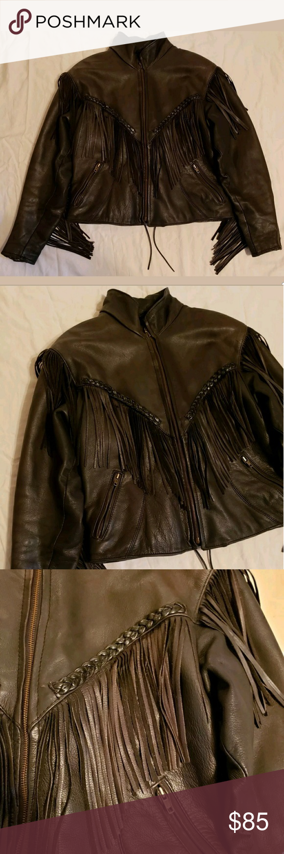 8ed2c2be4c0f Hot Leathers Fringe Leather Jacket Women Size 12 Leather Motorcycle Jacket.  Removeble Liner. Dark Brown. It has one light faded spot on the front upper  area ...