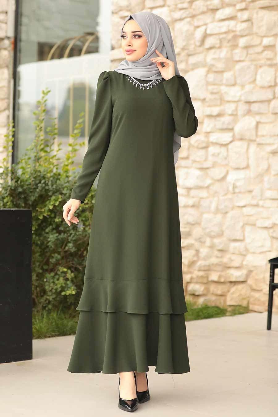 Tesettürlü Abiye Elbise - Kolyeli Yeşil Tesettür Abiye Elbise 3763Y - Tesetturisland.com