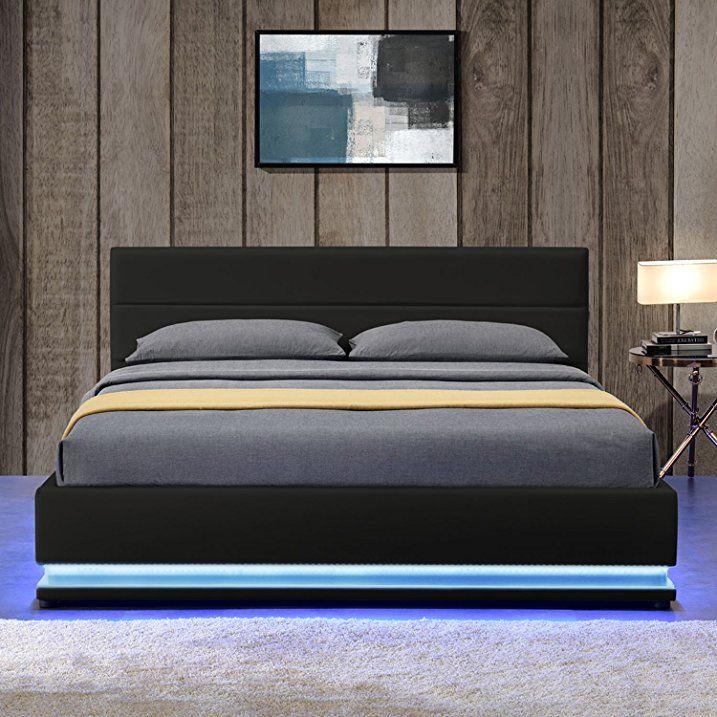 Polsterbett Toulouse 140 x 200 cm mit rundum LED und Bettkasten ...