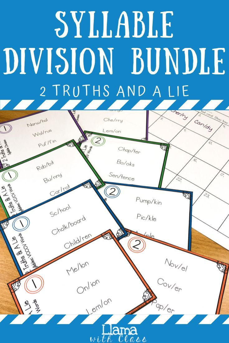 Syllables 2 Truths and a Lie Task Card Activities Bundle