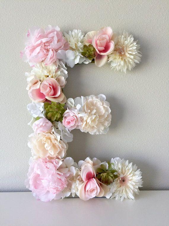 Floral Letter   Flower Letter Nursery Letter Light Pink - Light pink nursery decor