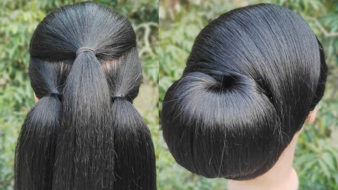 Latest Bun Hairstyle With Using Clutcher Easy Hairstyle Juda Hairstyle New Hairstyle Hairstyles Juda Easy Hairstyles Bun Hairstyles