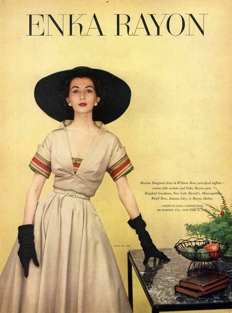 MARTINI Designed Dress Fashion Page Ad - 1952 - Dramatic Black Hat #Martini