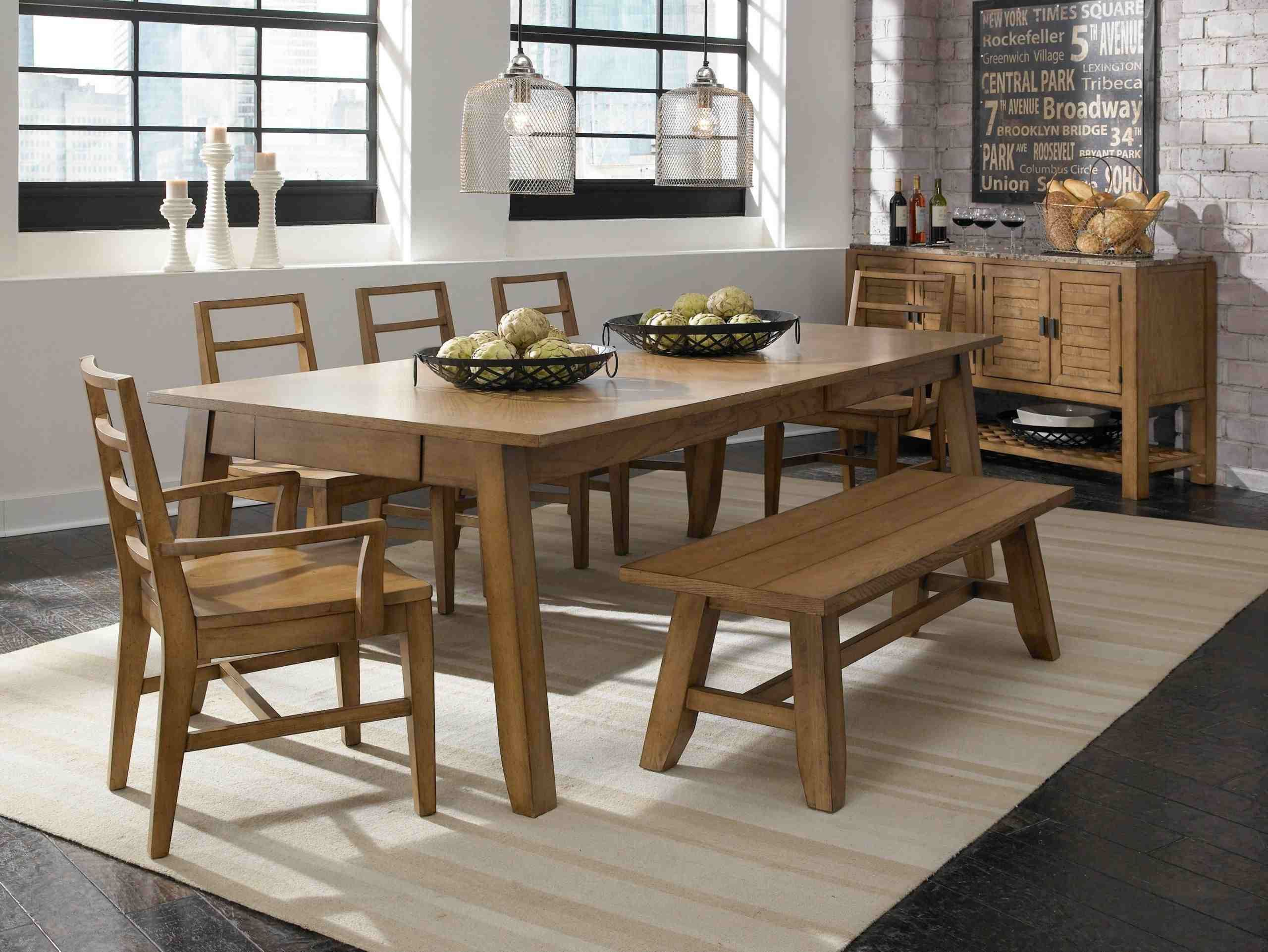 Dining Room Table And Bench Set Modern