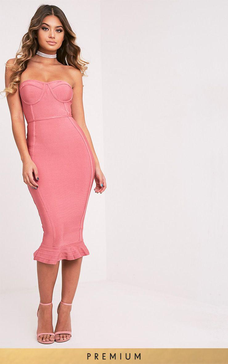 eed13965b Roxina Rose Premium Bandage Frill Hem Midi Dress | Dresses | US |  PrettyLittleThing.com