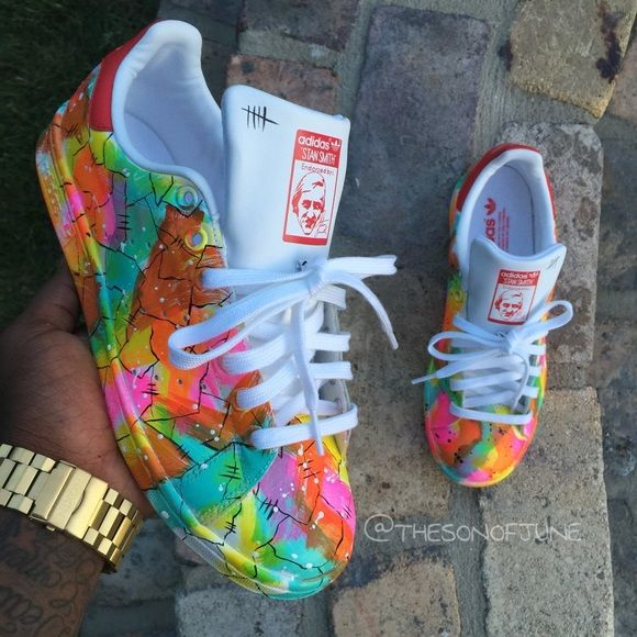 Custom Painted Stan Smith x Adidas x Color Blend Men Sz 9