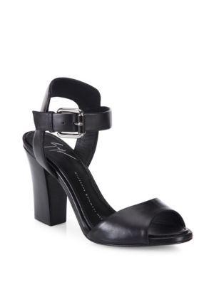 GIUSEPPE ZANOTTI Emmanuelle Leather Peep Toe Sandals. #giuseppezanotti #shoes #sandals