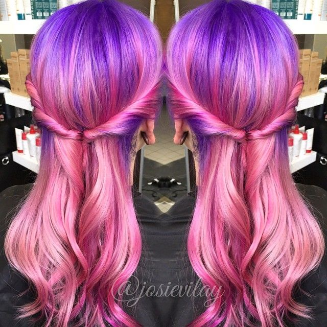 For hose who are asking about the formula we Decolorized with artgeo lovely lights 40 volume roots to end for 40 mins  We then mixed 10 Grams of the Pravana purple with 40 grams lilac on root , sectioned horizontally from nape up in vertical subsections alternating between mixtures of Too cute Coral 13 grams 30 grams pretty in pink pastel , Wild orchid  7 grams 20 grams Pink Vivid Silk Chrome and one bowl regular pink vivid silk , one bowl magenta 7 grams and 30 grams too cute Coral