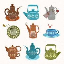 Tea pots illustrations for your kitchen. For tea and coffee lovers digital collage sheet to make your kitchen fun!