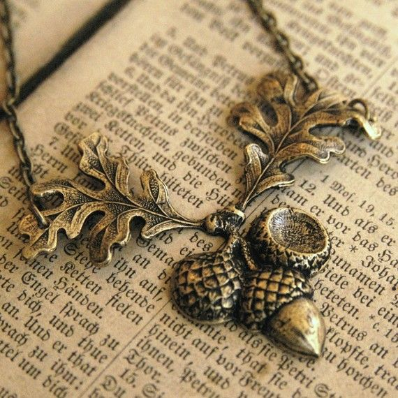 Brass Acorn Necklace by ragtrader on Etsy, $18.00