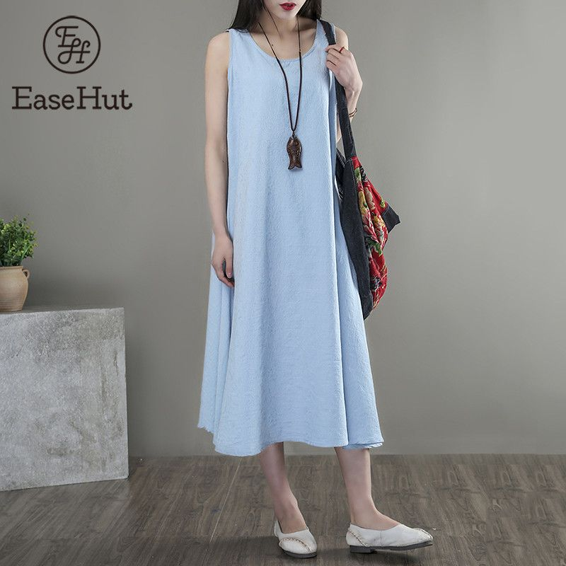 f142b9ee2f9 Find More Dresses Information about EaseHut 2018 Summer Women Loose Midi Dresses  Sleeveless O Neck Casual Solid Sundress Plus Size 5XL Vestidos Vintage Tank  ...