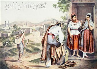 Las Poblanas, the people of Puebla, in traditional folk costumes, Mexico 19th century.