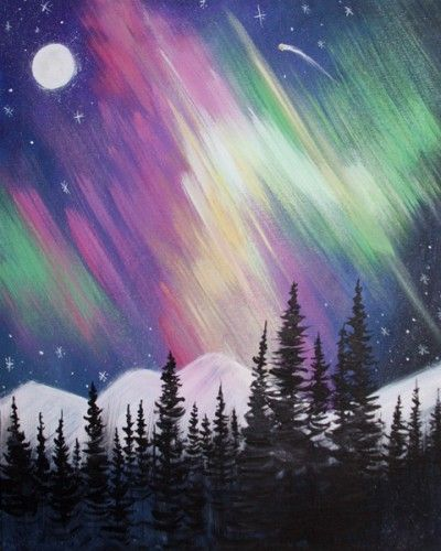 Northern Lights Moon Snowcovered Mountains And Evergreens Beginner Painting Idea Whimsy Paint Sip