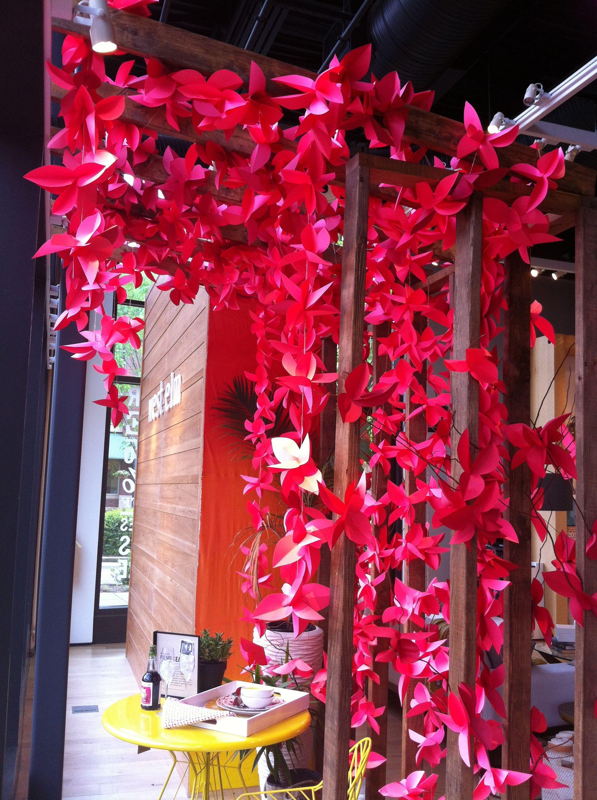 DIY, paper flower, paper flower garland, ceremony backdrop