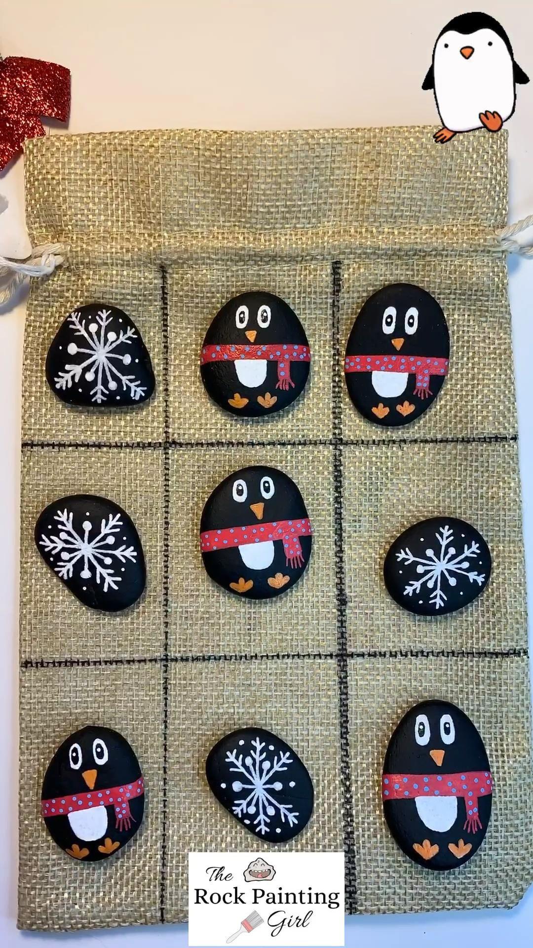 Lil Penguin 🐧 & Snowflake Rocks!