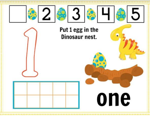 Free Printable Dinosaur Play Dough Mat Numbers 110
