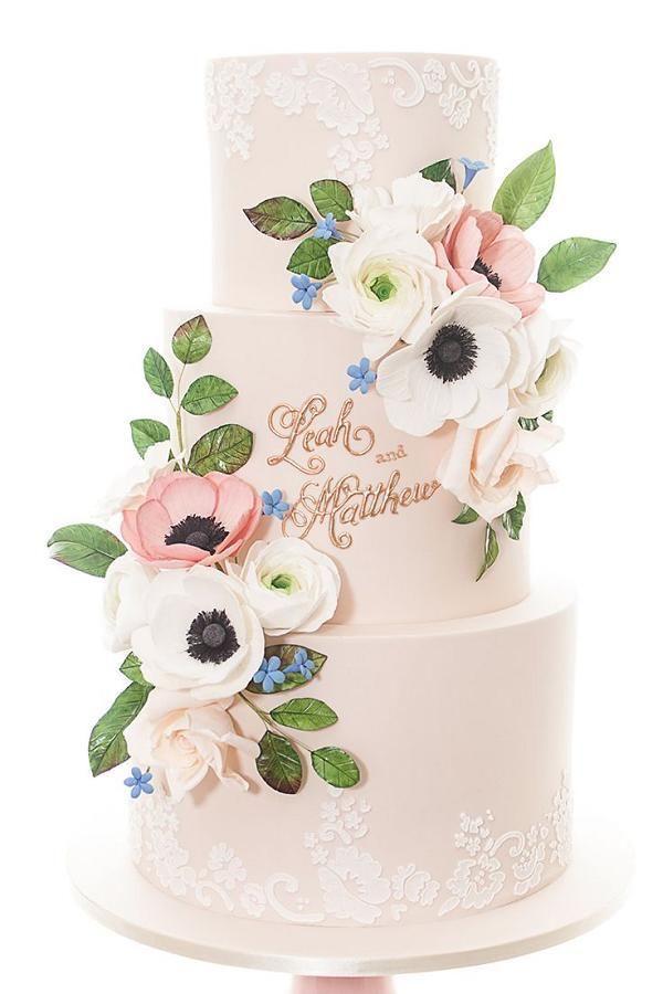 anemone pink wedding cake