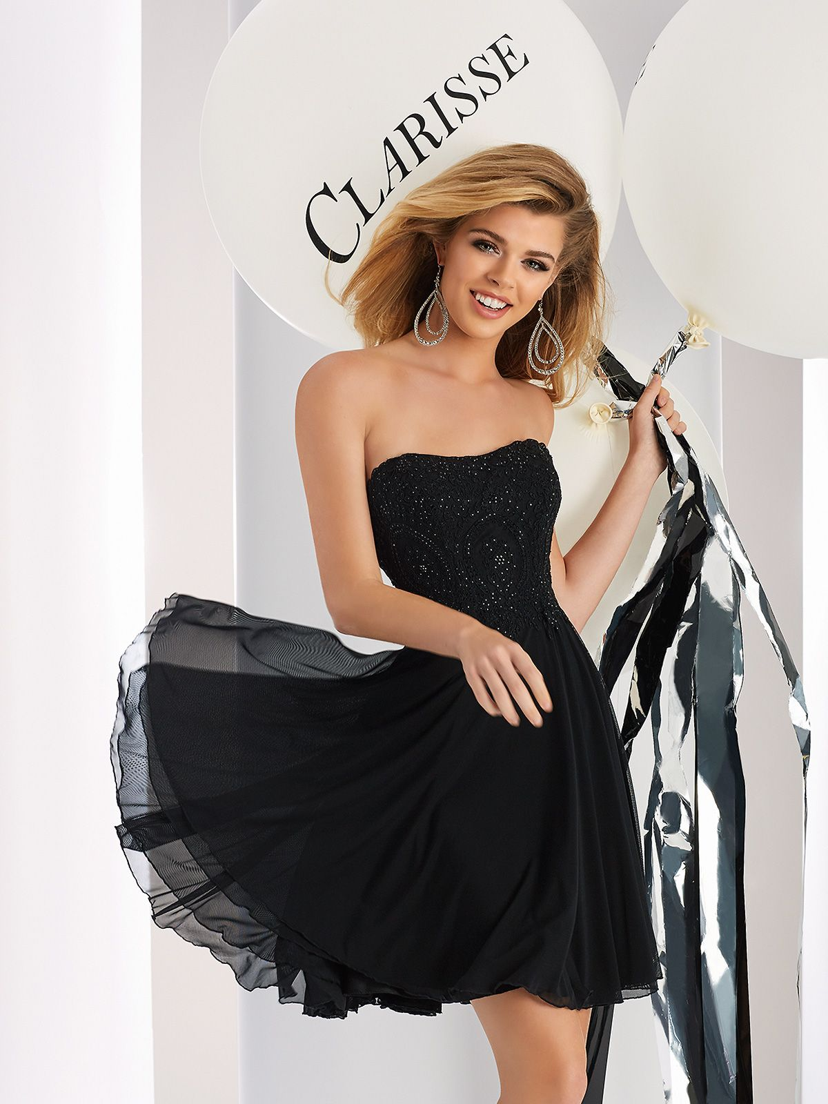 Clarisse prom dress strapless short dress with netted mesh