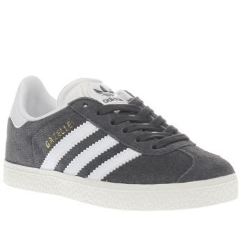 Adidas Dark Grey Gazelle Unisex Junior Echoing the 90s original, adidas  downsize their ever-