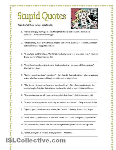 Practice using reported speech. English Language