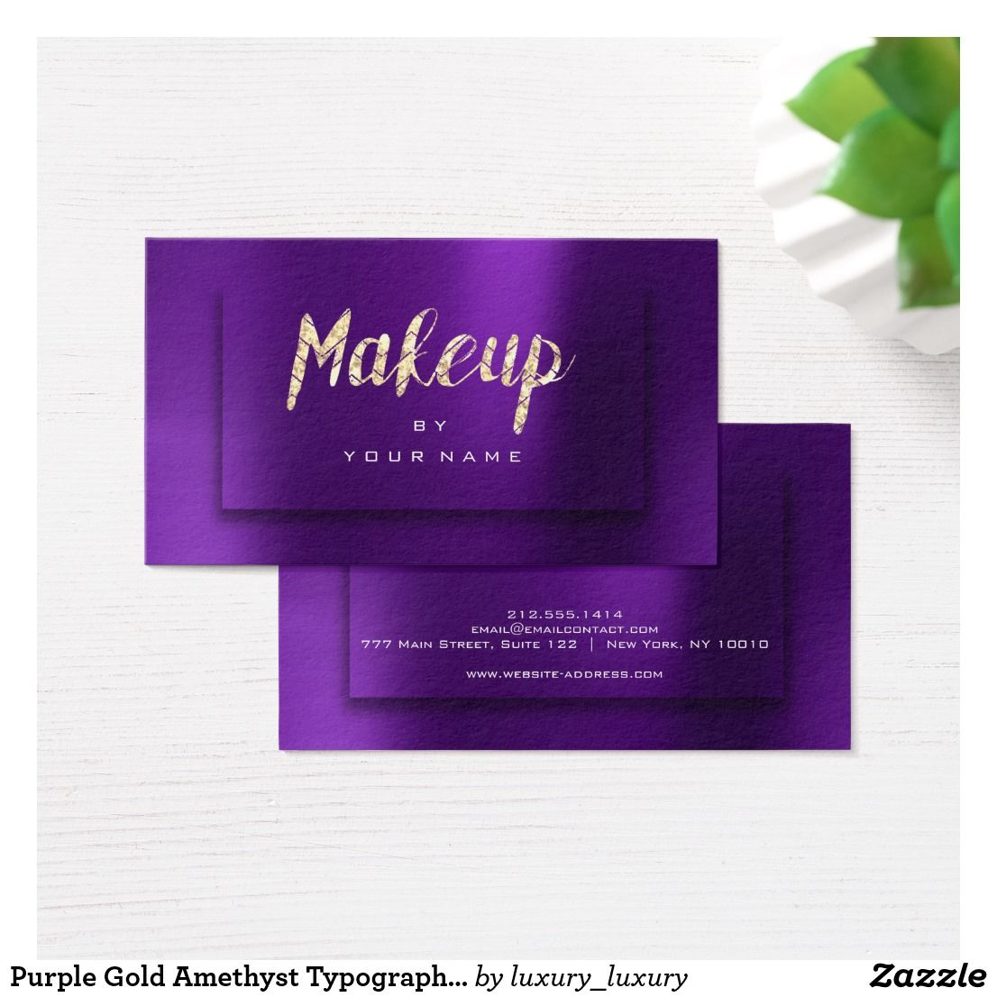 Purple Gold Amethyst Typograph Makeup Artist D Business Card - Place card maker