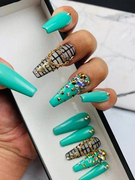 Green Money Nails | Press on Nails | Any Shape and Size | Fake Nails | Swarovski Nails | Crystal Pixie | Gold Nails | Green Nails