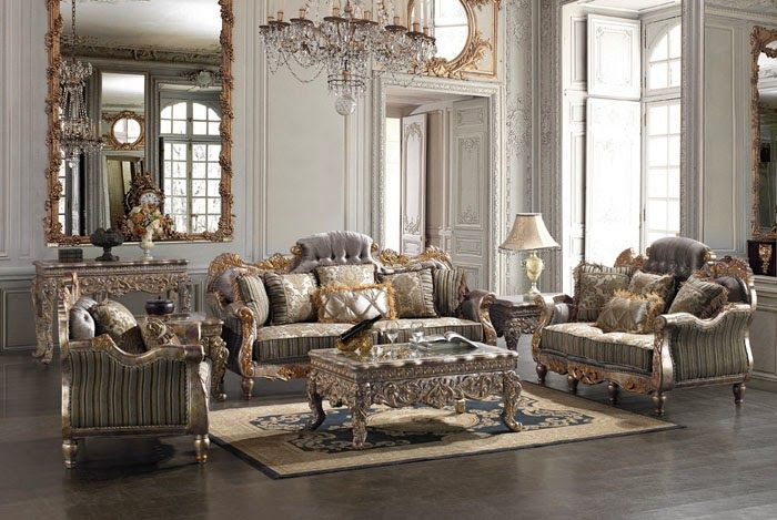 luxary silver living room furniture | Klasik Salon Takımları ...
