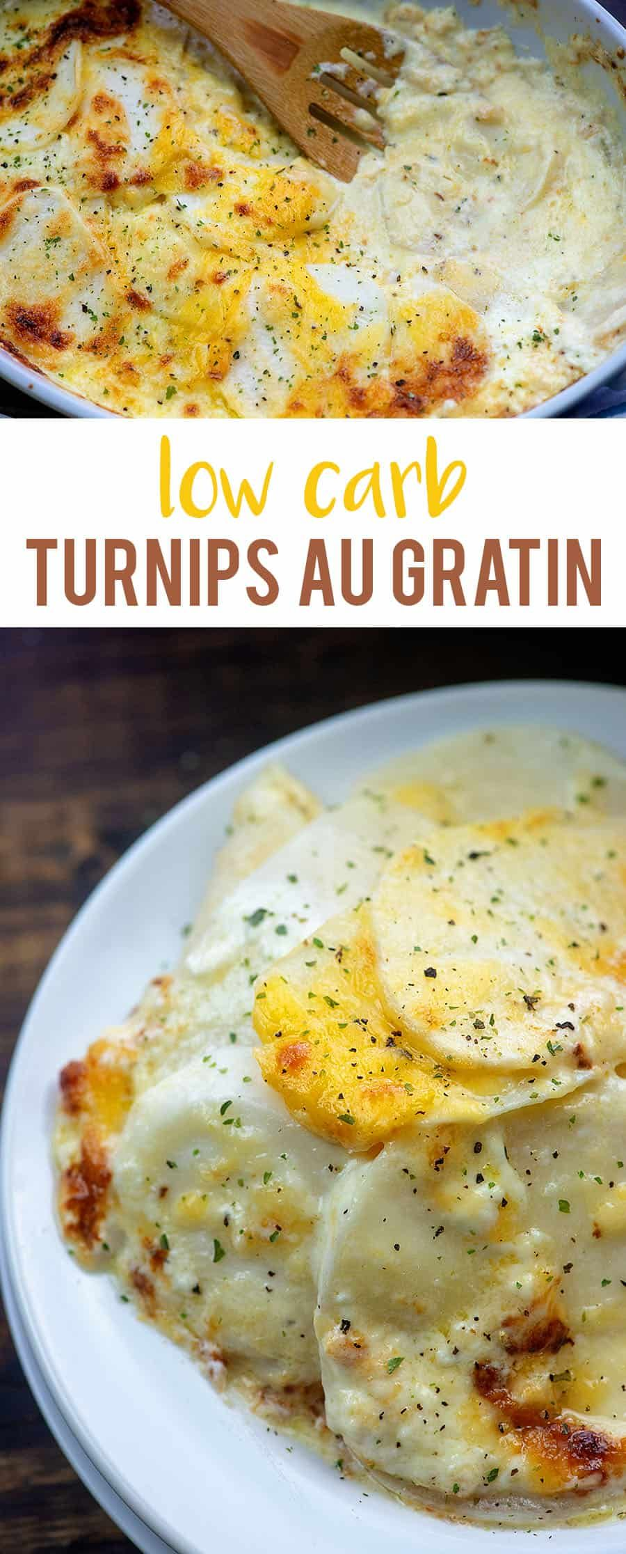 Low Carb Turnips au Gratin! Perfect side dish for a holiday dinner! #recipe #Easter #holidays #lowcarb #keto #dinnersidedishes