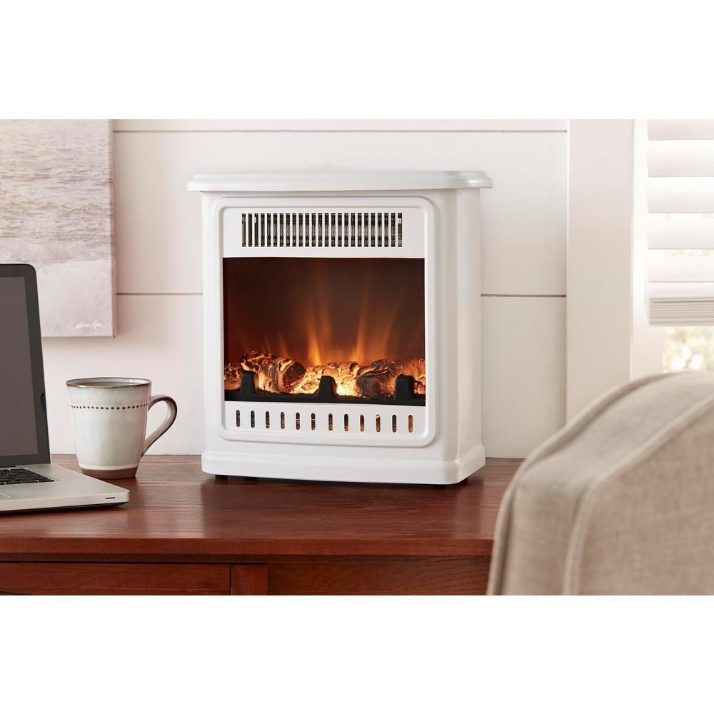 Hampton Bay Crestland 13 In Desktop Electric Fireplace In White Est 13 50 Y The Home Depot Seasonal Room Home Fireplace Fireplace