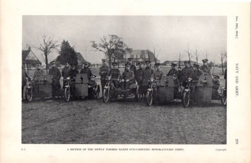 1914-PRINT-MAXIM-GUN-CARRYING-MOTOR-CYCLE-CORPS-WW1