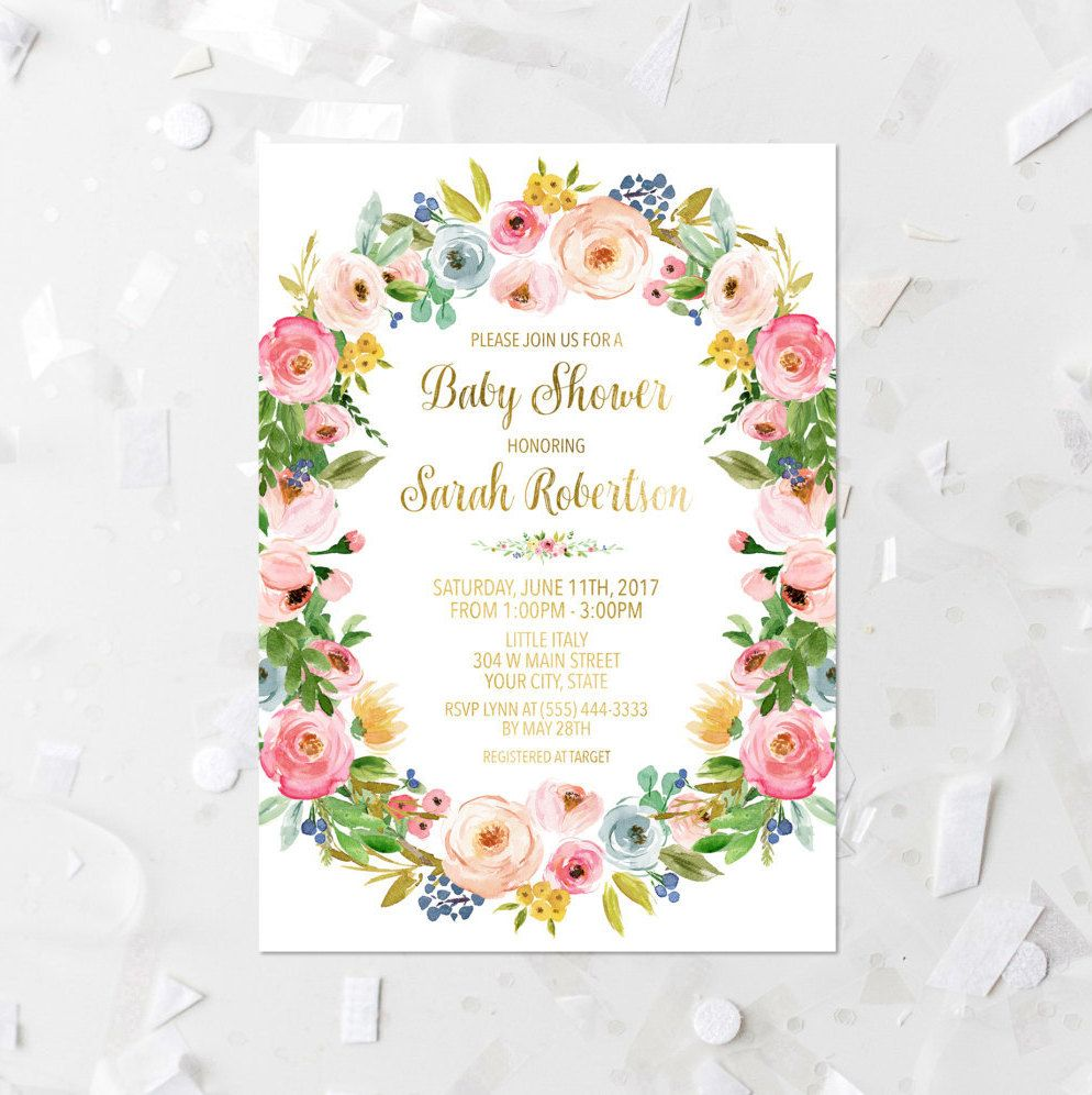 Spring Floral Baby Shower Invitation Printable Pink Floral Wreath ...