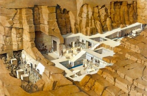 Illustration From National Geographic Ancient Egyptian Workers Carve Out And Embellish The Tomb Of Seti I In A Cutaway Illustration