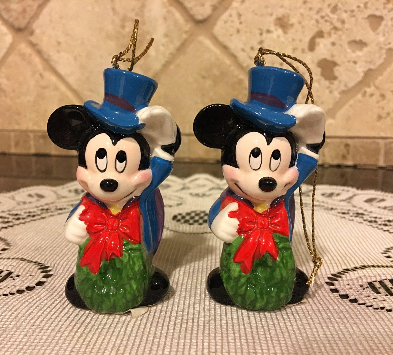 TWO Schmid 1988 Ornament Disney Mickey Mouse Warm Winter Ride by DisneyDad29 on Etsy