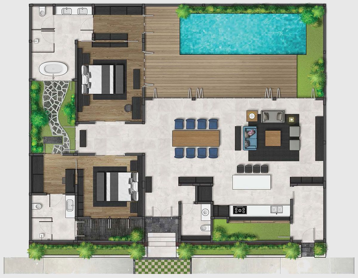 Bali Villa Floor Plan Design