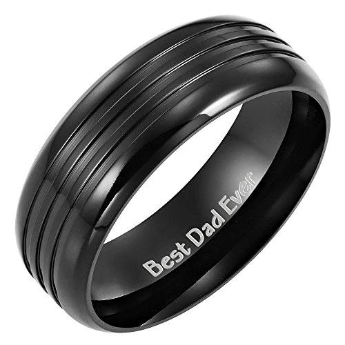 Men's DAD Black Titanium Ring with Engraved Best Dad Ever